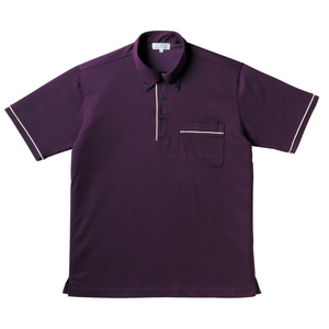 パイピング入介護用ニットシャツ男女兼用(E85・C15)[パープル]