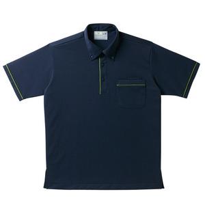パイピング入介護用ニットシャツ男女兼用(E85・C15)[ネイビー]
