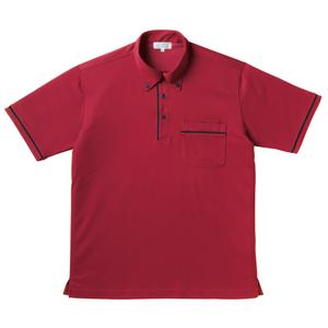 パイピング入介護用ニットシャツ男女兼用(E85・C15)[ストロベリーレッド]