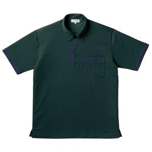 パイピング入介護用ニットシャツ男女兼用(E85・C15)[ボトルグリーン]