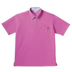 CR145ストライプ切替介護用ニットシャツ男女兼用[ラベンダーピンク(E95・C5)]