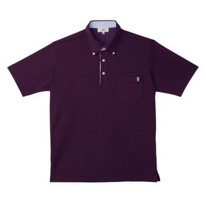 CR145ストライプ切替介護用ニットシャツ男女兼用[パープル(E95・C5)]