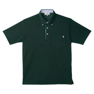 CR145ストライプ切替介護用ニットシャツ男女兼用[ボトルグリーン]