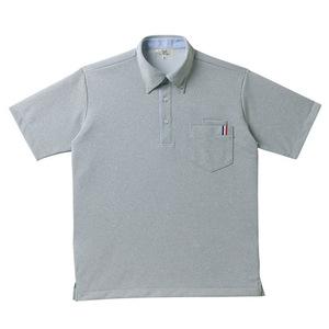 ストライプ切替介護用ニットシャツ男女兼用[グレーモク(E100)]