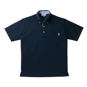 CR145ストライプ切替介護用ニットシャツ男女兼用[ネイビー(E95・C5)]