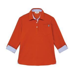 CR146レディスストライプ切替介護用7分袖ニットシャツ[ディープオレンジ]