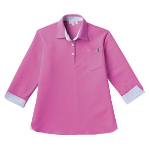 CR146レディスストライプ切替介護用7分袖ニットシャツ[ラベンダーピンク(E95・C5)]