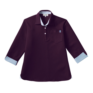 CR146レディスストライプ切替介護用7分袖ニットシャツ[パープル(E95・C5)]