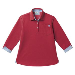 CR146レディスストライプ切替介護用7分袖ニットシャツ[ストロベリーレッド]