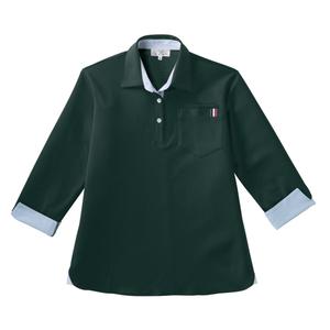 CR146レディスストライプ切替介護用7分袖ニットシャツ[ボトルグリーン]