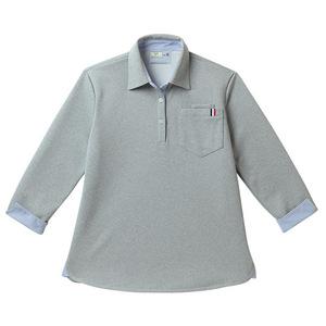 CR146レディスストライプ切替介護用7分袖ニットシャツ[グレーモク(E100)]