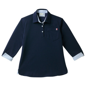 CR146レディスストライプ切替介護用7分袖ニットシャツ