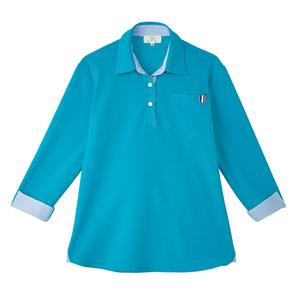 CR146レディスストライプ切替介護用7分袖ニットシャツ[ティールブルー]