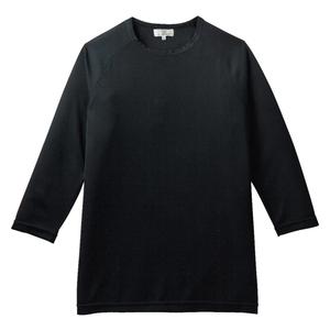 消臭抗菌効果抜群の重ね着八分袖シャツ(E100%)[ブラック]