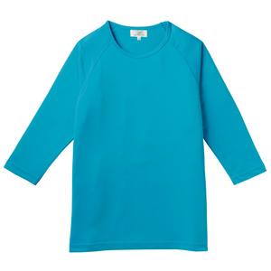 消臭抗菌効果抜群の重ね着八分袖シャツ(E100%)[ブルー]