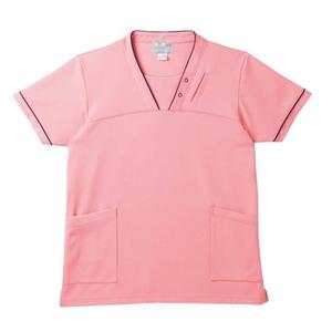PHS専用ポケット付き明るいカラーの介護用ケアスクラブ男女兼用(E95・C5)[ピーチ]
