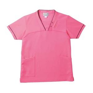 PHS専用ポケット付き明るいカラーの介護用ケアスクラブ男女兼用(E95・C5)[アマンドピンク]