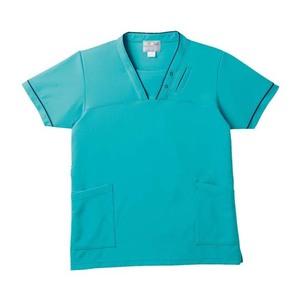 PHS専用ポケット付き明るいカラーの介護用ケアスクラブ男女兼用(E95・C5)[ターコイズブルー]