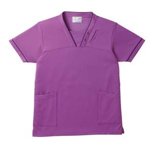 PHS専用ポケット付き明るいカラーの介護用ケアスクラブ男女兼用(E95・C5)[パープル]