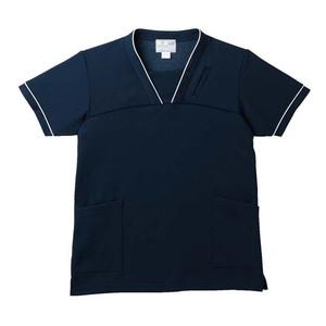 PHS専用ポケット付き明るいカラーの介護用ケアスクラブ男女兼用(E95・C5)[ネイビー]