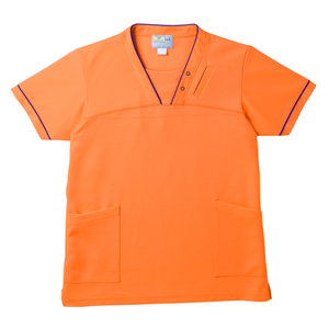PHS専用ポケット付き明るいカラーの介護用ケアスクラブ男女兼用(E95・C5)[オレンジ]