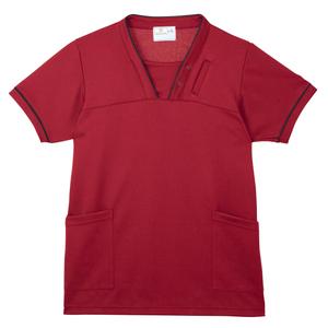 PHS専用ポケット付き明るいカラーの介護用ケアスクラブ男女兼用(E95・C5)[ストロベリーレッド]