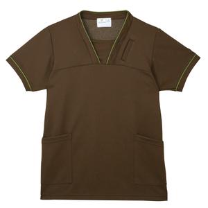 PHS専用ポケット付き明るいカラーの介護用ケアスクラブ男女兼用(E95・C5)[ブラウン]
