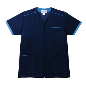 ポケットいっぱい!前ファスナー介護用ケアスクラブ男女兼用(E95・C5)[ネイビー×ブルー]