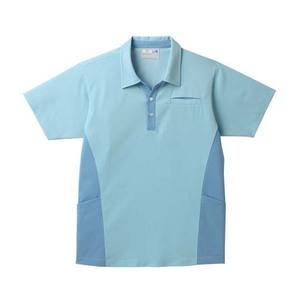 ポケットいっぱい!スキッパー衿介護用ニットシャツ男女兼用(E85・C15)[グレイッシュブルー]