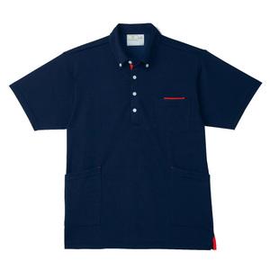 PHS専用ポケット付きボタンダウン介護用ニットシャツ男女兼用(E95・C5)[ネイビー×レッド]