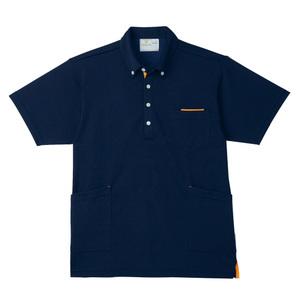 PHS専用ポケット付きボタンダウン介護用ニットシャツ男女兼用(E95・C5)[ネイビー×オレンジ]