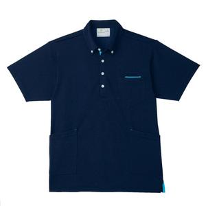 PHS専用ポケット付きボタンダウン介護用ニットシャツ男女兼用(E95・C5)[ネイビー×サックス]