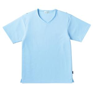 介護用撥水袖ロールアップ入浴介助用シャツVネック男女兼用(E100)[サックス]