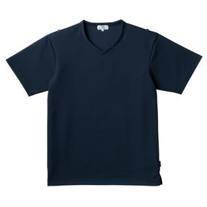介護用撥水袖ロールアップ入浴介助用シャツVネック男女兼用(E100)[ネイビー]