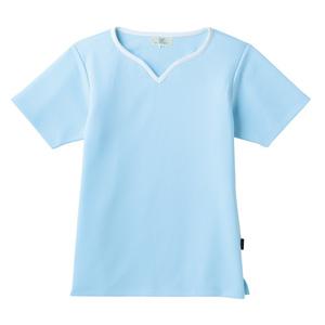 介護用撥水レディス入浴介助用ハートネックシャツ(E100)[サックス]