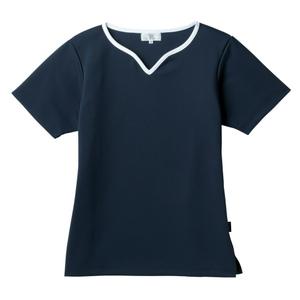 介護用撥水レディス入浴介助用ハートネックシャツ(E100)[ネイビー]