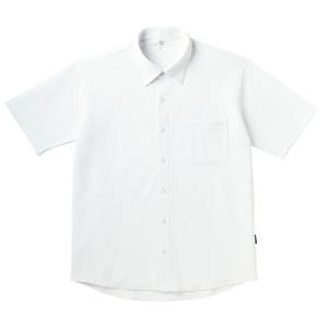 PHSポケット付きシンプル介護用ニットシャツ(E100%)[ホワイト]