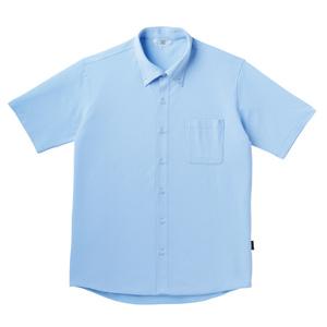 PHSポケット付きシンプル介護用ニットシャツ(E100%)[サックス]