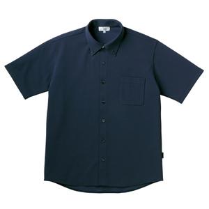 PHSポケット付きシンプル介護用ニットシャツ(E100%)[ネイビー]