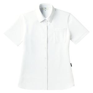 PHSポケット付きシンプル介護用レディスニットシャツ(E100%)[ホワイト]