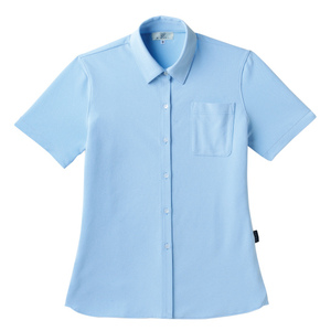 PHSポケット付きシンプル介護用レディスニットシャツ(E100%)[サックス]