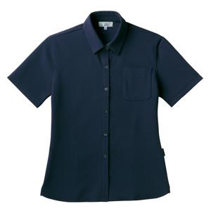 PHSポケット付きシンプル介護用レディスニットシャツ(E100%)[ネイビー]