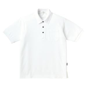 PHSポケット付きカラフル介護用無地ポロシャツ(E100%)[ホワイト]