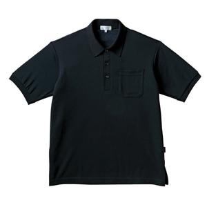PHSポケット付きカラフル介護用無地ポロシャツ(E100%)[ブラック]