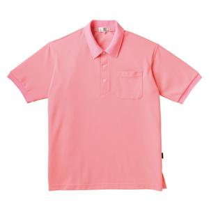 PHSポケット付きカラフル介護用無地ポロシャツ(E100%)[ピーチ]