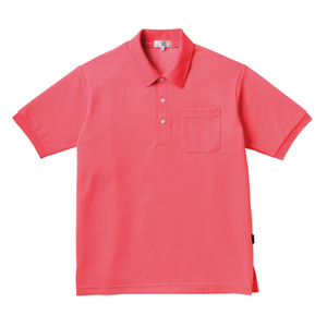 PHSポケット付きカラフル介護用無地ポロシャツ(E100%)[ピンク]