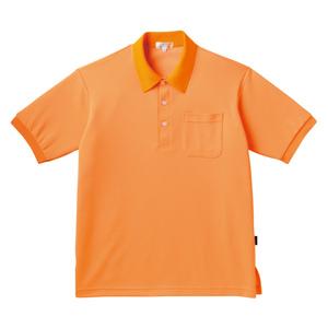 PHSポケット付きカラフル介護用無地ポロシャツ(E100%)[オレンジ]