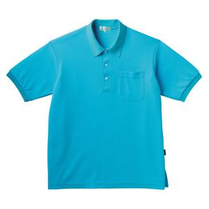 PHSポケット付きカラフル介護用無地ポロシャツ(E100%)[ブルー]