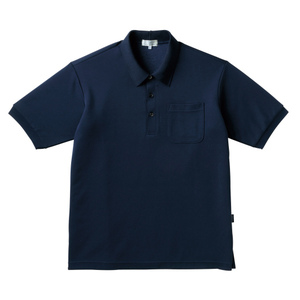PHSポケット付きカラフル介護用無地ポロシャツ(E100%)[ネイビー]