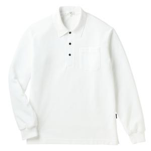 PHSポケット付きカラフル介護用無地長袖ポロシャツ(E100%)[ホワイト]